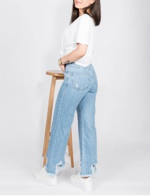 Kadın Açık Mavi Kot Saçaklı Yüksek Bel Mom Jean Pantolon