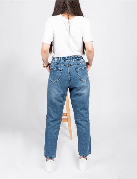 Kadın Lacivert Kot Boyfriend Yüksek Bel Mom Jean Pantolon