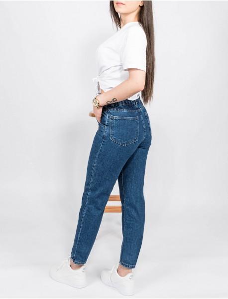 Kadın Mavi  Kot Boyfriend Yüksek Bel Mom Jean Pantolon