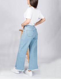 Kadın Mavi Kot Paçası Bol Yüksek Bel Boyfriend Jean Pantolon