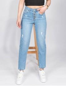 Kadın Mavi Kemerli Kot Yüksek Bel Mom Jean Pantolon