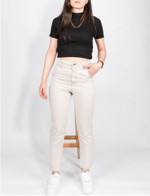 Kadın Taş Rengi Kot Yüksek Bel Mom Jean Pantolon