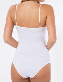 Beyaz Cırt cırtlı dantelli pamuklu ip askılıklı kadın body
