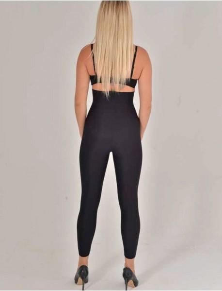 Siyah Bel Üstü Lazer Kesim Uzun Sıkılaştırıcı Kadın Tayt Korse Modeli