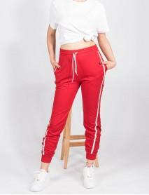 Kadın Kırmızı Yandan Şeritli Paçası Lastikli Eşofman