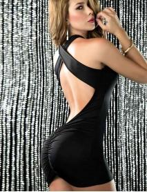 Merry See Siyah Dar Mini Seksi Kadın Elbise