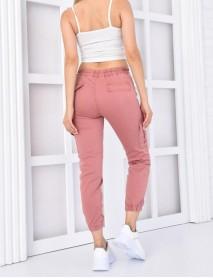 Kadın Gül Kurusu Paçası Lastikli  Yüksek Bel Kargo Pantolon