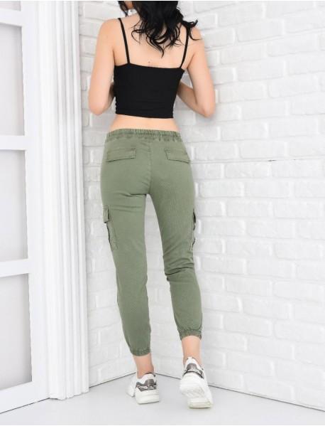 Kadın Haki Paçası Lastikli  Yüksek Bel Kargo Pantolon