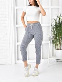 Kadın Lacivert Çizgili Yüksek Bel Pantolon