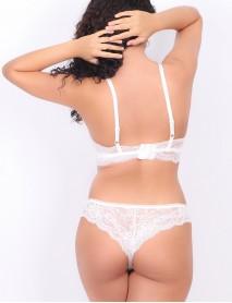 Kadın Dantelli Beyaz Kısa Üçgen Dolgusuz Bralet Sütyen Takım
