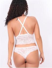 Kadın Dantelli Beyaz Uzun Üçgen Dolgusuz Bralet Sütyen Takım
