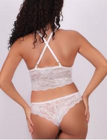 Kadın Dantelli Beyaz Uzun Dolgusuz Bralet Sütyen Takım
