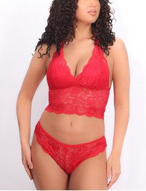 Kadın Dantelli Kırmızı Uzun Üçgen Dolgusuz Bralet Sütyen Takım