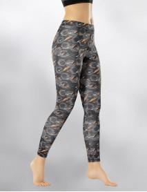 Lacivert Uzun Parlak Dijital Yüksek Bel Kadın Tayt Modeli
