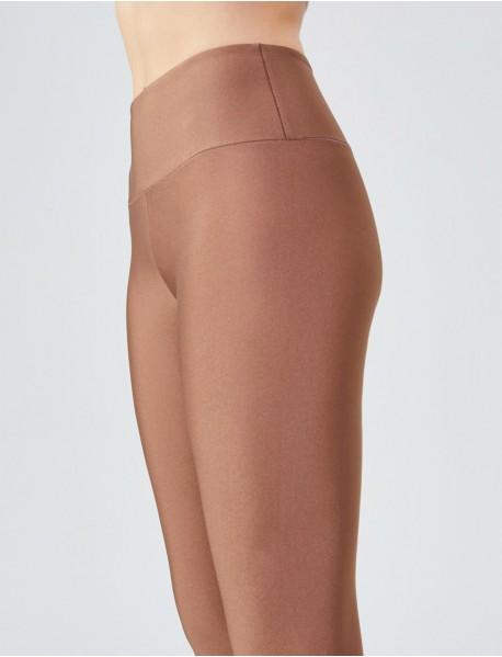 Bronz Uzun Parlak Yüksek Bel Kadın Tayt Modeli
