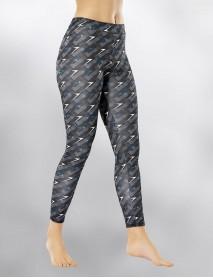 Lacivert Uzun Parlak Dijital Desenli Kadın Tayt Modeli