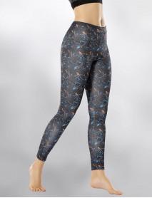 Lacivert Disco Dijital  Baskılı Yüksek Bel Kadın Tayt Modeli