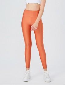 Somon Rengi Uzun Parlak Yüksek Bel Kadın Tayt Modeli