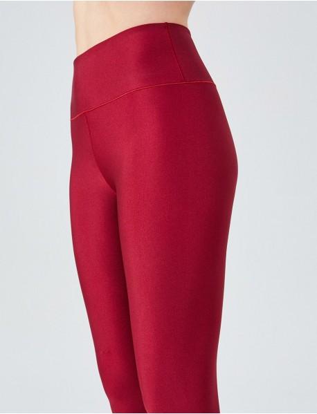 Bordo Uzun Parlak Yüksek Bel Kadın Tayt Modeli