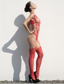 Kırmızı Desenli Göbek Bölgesi Açık  Jartiyerli Kadın Vücut Çorabı