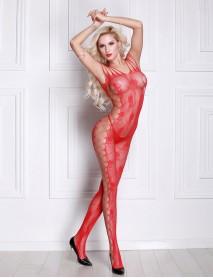 Kırmızı Desenli Tam Boy Jartiyerli İntimo Kadın Vücut Çorabı