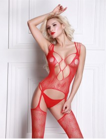 Kırmızı Özel Desenli  Jartiyerli Kadın Vücut Çorabı