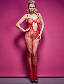 Kırmızı desenli Jartiyerli İntimo Kadın Vücut Çorabı