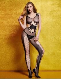 Siyah Dantelli Transparan Jartiyerli Kadın Vücut Çorabı