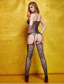 Siyah Desenli Fileli Jartiyerli Kadın Vücut Çorabı
