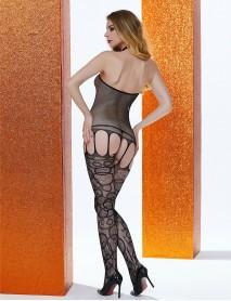 Siyah Desenli Dantelli Fileli Jartiyerli Kadın Vücut Çorabı