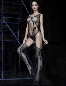 Siyah Desenli Göbek Bölgesi Açık Jartiyerli Kadın Vücut Çorabı