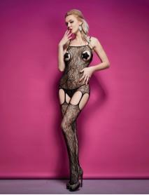Siyah Lale Desenli Jartiyerli Kadın Vücut Çorabı