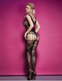 Siyah desenli Jartiyerli İntimo Kadın Vücut Çorabı